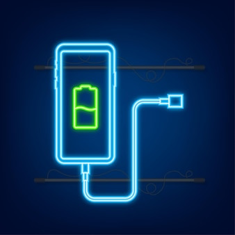 Smartphone charger adapter and electric socket low battery notification neon icon