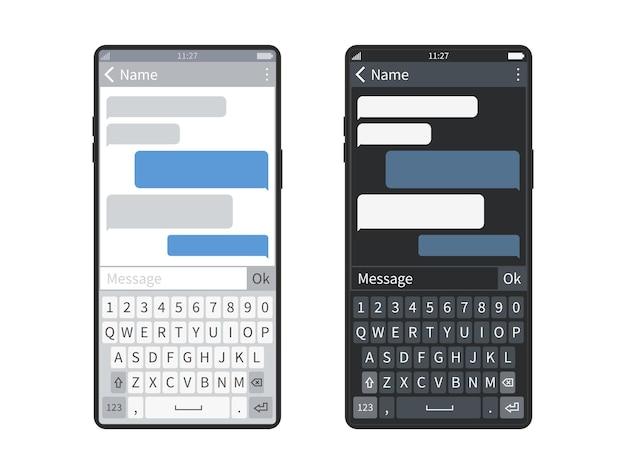 스마트폰 채팅. 메시징 앱, 거품 또는 메시지 구름이 있는 검정색 또는 흰색 화면 모바일 장치 키보드, sms 대화 벡터 템플릿 세트를 보내는 챗봇