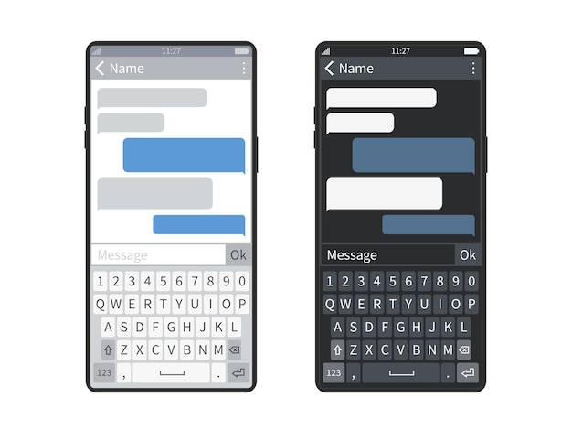 Smartphone chat. black or white screen mobile device keyboard with messaging app, bubbles or message clouds, chatbot sending sms dialogues vector template set