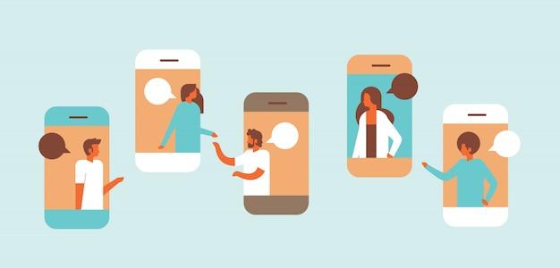 Smartphone chat bubbles mobile application communicating speech dialogue man woman character background portrait horizontal flat
