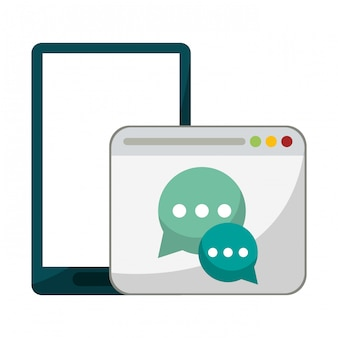 Smartphone and chat website symbol