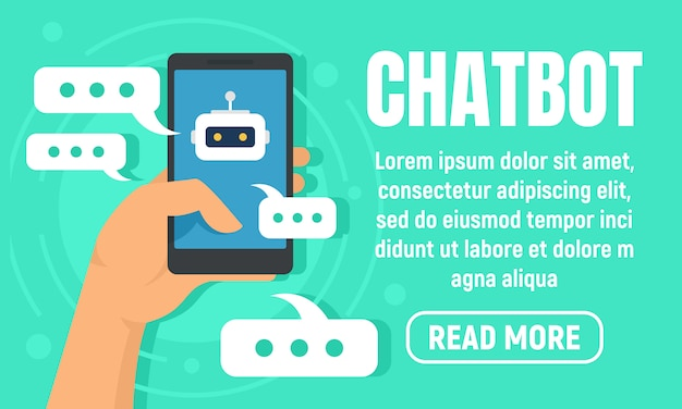 Smartphone chatbot banner, flat style