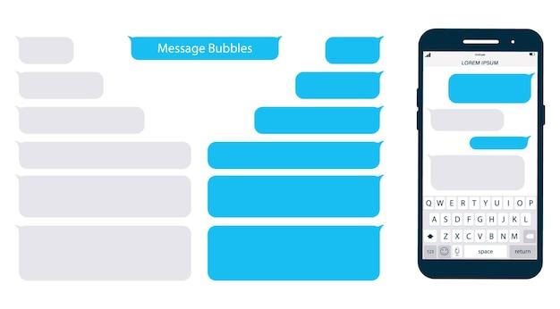 스마트폰, 채팅 sms 앱 템플릿 거품. 메시지 클라우드에 자신의 텍스트를 배치합니다. 소셜 네트워크 메신저 페이지 템플릿입니다. 모바일 키보드가 있는 채팅 앱 템플릿입니다. 메시지 플랫 거품