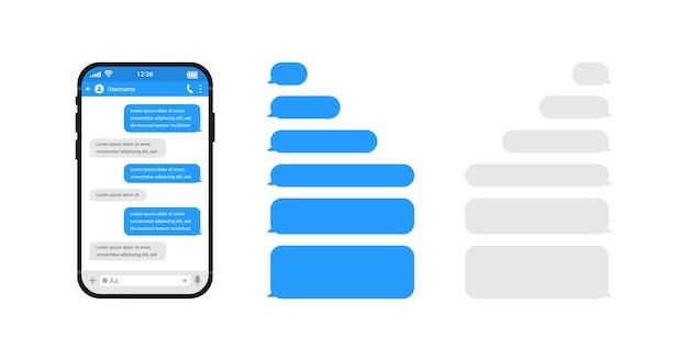 スマートフォンチャットsmsテンプレートバブル