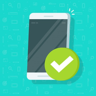 Smartphone and checkmark icon flat cartoon