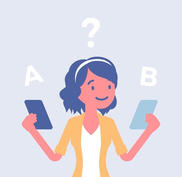 Сравнение смартфонов для девушки. девушка выбирает между двумя смартфонами, оценивает характеристики продукта, ищет различия, вид дизайна, марку и цену. векторные иллюстрации шаржа плоский стиль