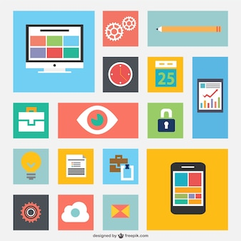 Smartphone and computer flat icons