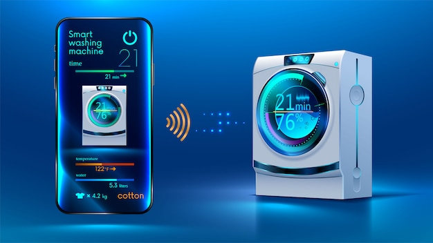 Smartphone controls via a wireless connection via the internet with a smart washing machine