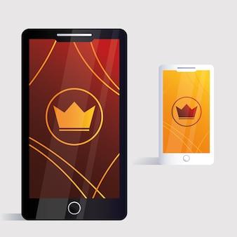 スマートフォン、白い背景イラストのコーポレートアイデンティティテンプレート