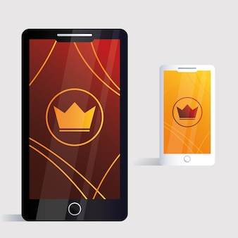 Smartphone, corporate identity template on white background illustration