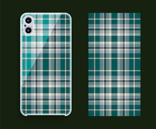 スマートフォンカバーデザインのモックアップ。携帯電話後部のテンプレートの幾何学模様。フラットなデザイン。