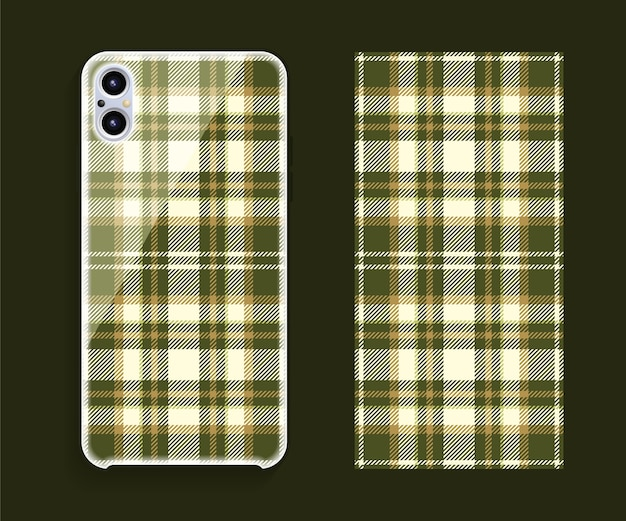 スマートフォンカバーデザインのモックアップ。携帯電話の背面部分のテンプレートの幾何学模様。フラットなデザイン。