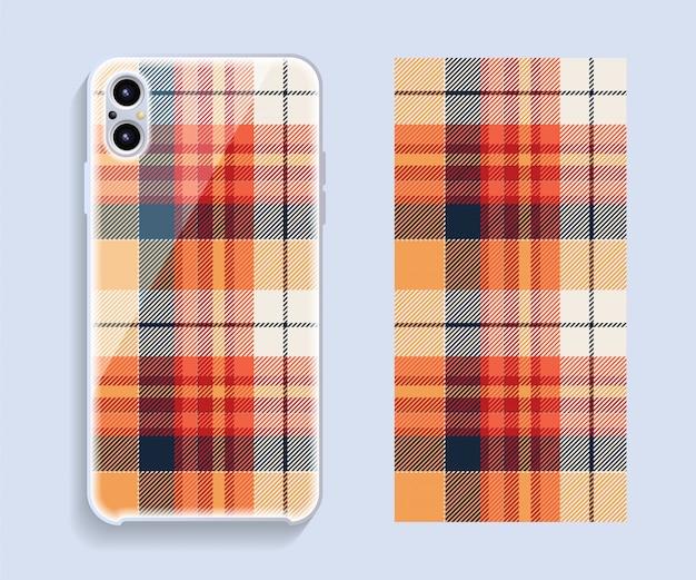 スマートフォンカバーデザインのモックアップ。携帯電話後部のテンプレートの幾何学模様。
