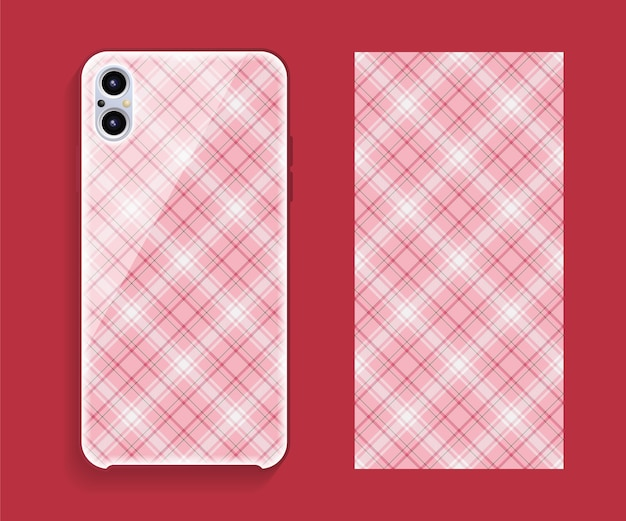 スマートフォンカバーデザインのモックアップ。携帯電話の背面部分のテンプレートの幾何学模様。