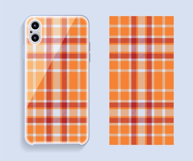 Smartphone cover design mockup. template geometric pattern for mobile phone back part. flat design.