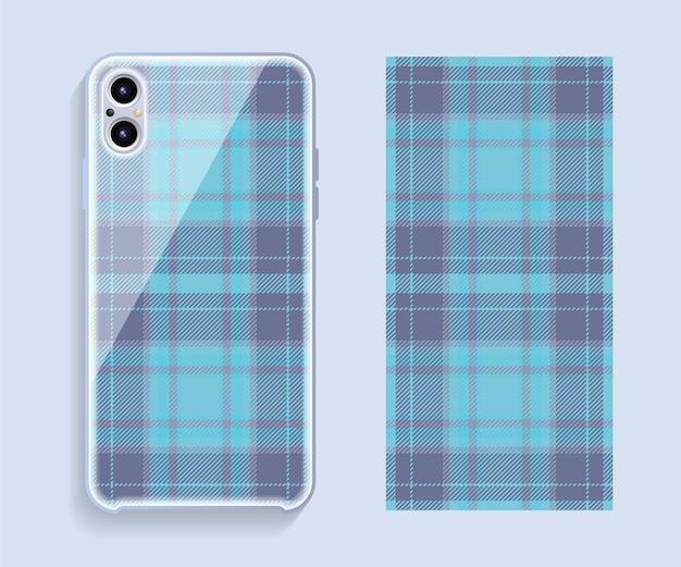 スマートフォンカバーデザイン。携帯電話後部のテンプレートの幾何学模様。フラットなデザイン。