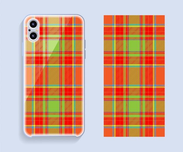 スマートフォンカバーデザイン。携帯電話後部のテンプレートの幾何学模様。