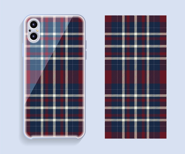 スマートフォンカバーのデザイン。携帯電話の背面部分のテンプレートの幾何学模様。