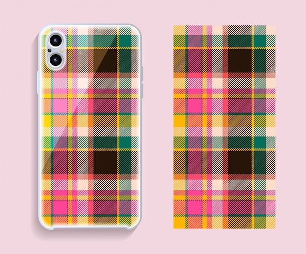 Smartphone cover design . template geometric pattern for mobile phone back part. flat design.