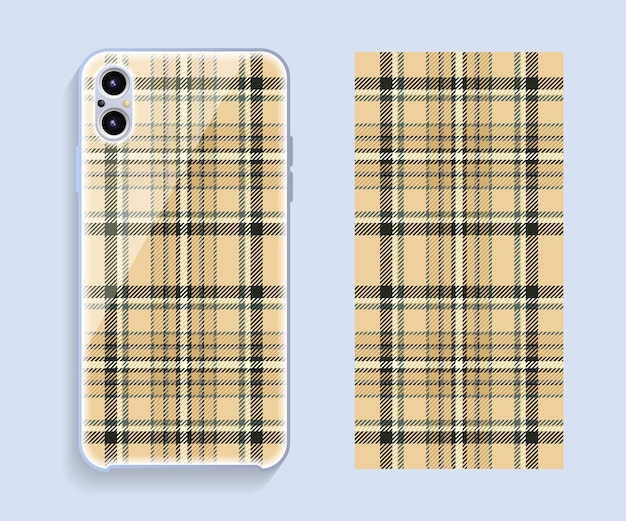 Smartphone cover design template. pattern for mobile phone back part.
