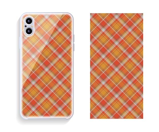 Smartphone cover design template with geometric pattern