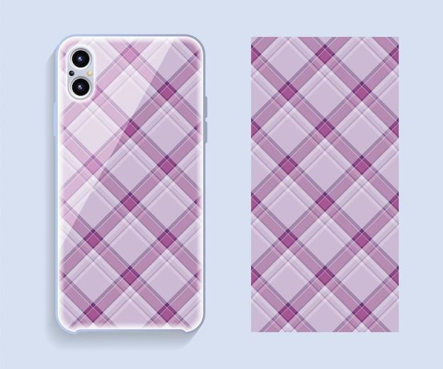 スマートフォンカバーデザインベクトルモックアップ。携帯電話後部のテンプレートの幾何学模様。フラットなデザイン。