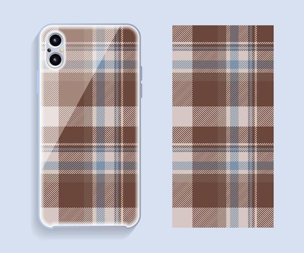 スマートフォンカバーデザインベクトルモックアップ。携帯電話の背面部分のテンプレートの幾何学模様。フラットなデザイン。