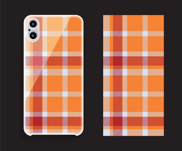 スマートフォンカバーモックアップ。携帯電話後部のテンプレートの幾何学模様。平らな 。