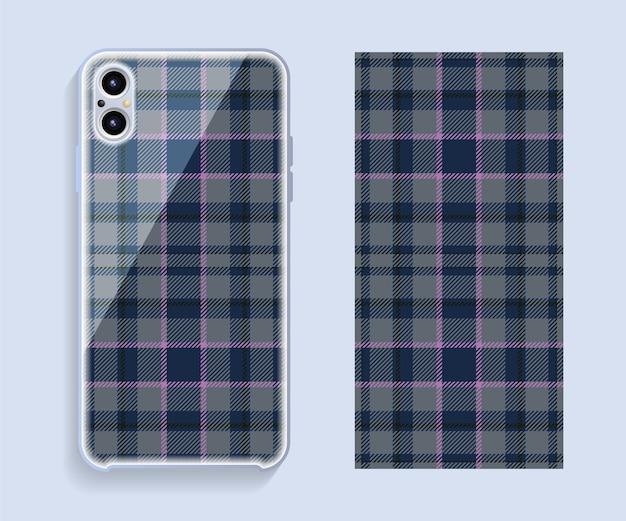 スマートフォンカバー。携帯電話の背面部分のテンプレートの幾何学模様。