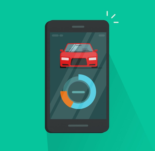 Smartphone dashboard with car or automobile diagnostic data vector illustration flat cartoon design