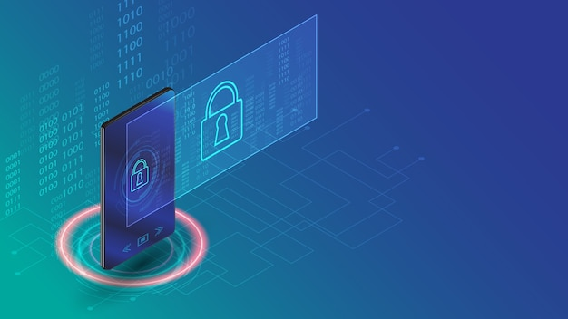 Smartphone data security business technology concept  illustration