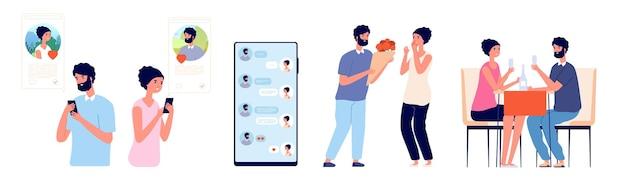 스마트폰 데이트 채팅. 온라인 사랑, 남자 또는 낭만적인 날짜와 유혹하는 여자. 귀여운 커플은 모바일 문자 메시지와 회의 벡터 삽화를 사용합니다. 스마트폰 앱에서의 커플 데이트, 소통과 데이트