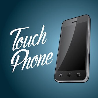Smartphone device design poster with digital object and word touch phone illustration