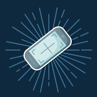 파란색 배경 위에 스마트 폰 장치 아이콘