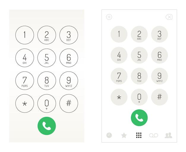 Smartphone dial keypad design. mobile phone numbers panel