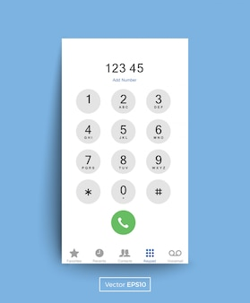 Smartphone dial keypad screen
