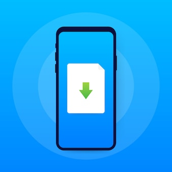 Smartphone and download file icon. document downloading concept