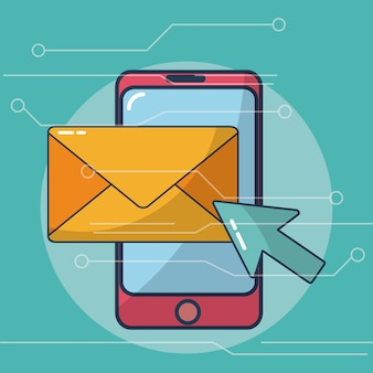 Smartphone and email internet vector ilustration