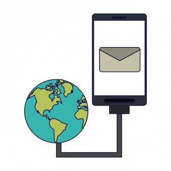 Smartphone email symbol and world network internet