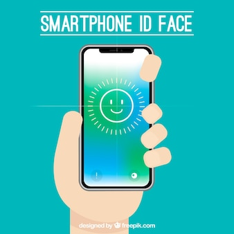 Smartphone face id concept with hand