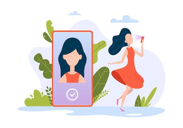 Идентификатор лица смартфона. ультрафиолетовое биометрическое распознавание интеллектуальной идентификации людей бизнес-технологии векторные иллюстрации концепции. идентификация и проверка, распознавание безопасности сканирования