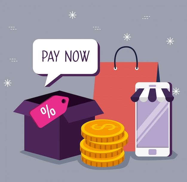 Смартфон для покупок в интернете с пакетами и монетами