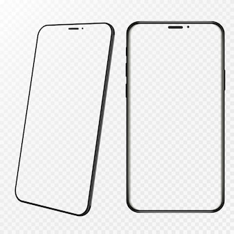 Рамка смартфона без пустого экрана, повернутое положение. 3d изометрические иллюстрации сотовый телефон. смартфон в перспективе. шаблон для инфографики или интерфейса дизайна пользовательского интерфейса презентации.