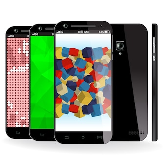 Smartphone front, side and back view