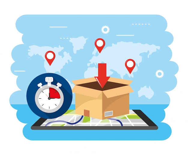 Smartphone gps map with chronometer and box location