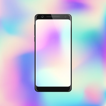 Smartphone on gradient background. mobile phone with abstract colorful screen