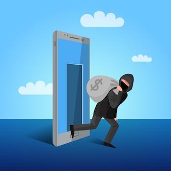 Smartphone hacking window allegoric flat poster