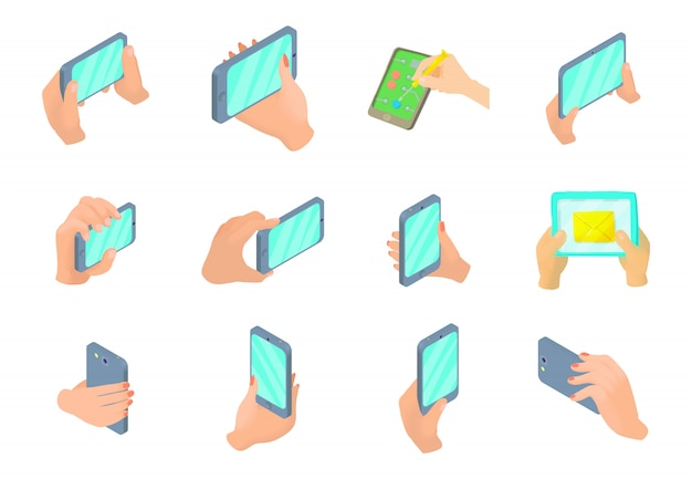 Smartphone in hand icon set