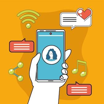 Smartphone in hand socila media apps