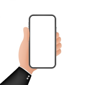 Smartphone on hand. telephone icon. touchscreen, phone display. cell phone  icon.   .   illustration.